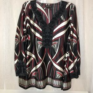 Lane Bryant Black, Red and Cream Kimono Blouse